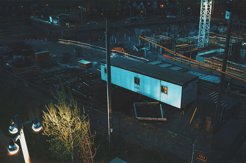 High Angle View Of Construction Site At Night