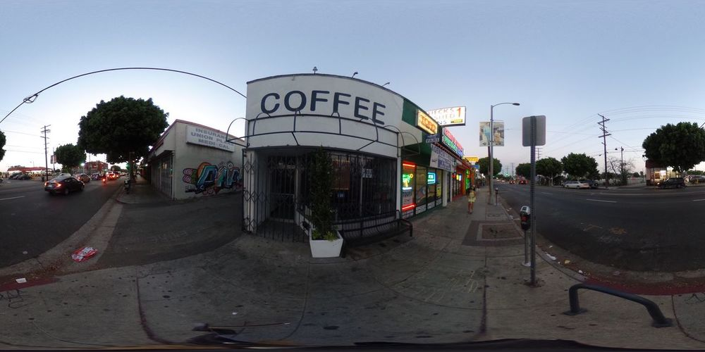 Text Tree Architecture Fish-eye Lens Built Structure Day Road Land Vehicle Outdoors Building Exterior Sky City Clear Sky No People Boyle Heights, CA Coffee Shop Ricoh Theta S Theta360