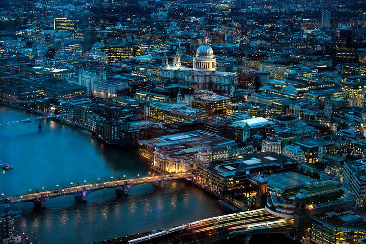 High Angle View Of Westminster Bridge Over Thames River In City At Dusk