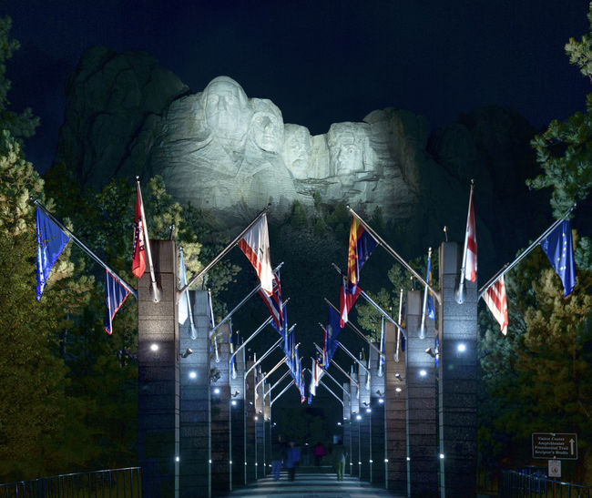 Mt. Rushmore at night Black Hills Flag Mount Rushmore National Memorial Night Outdoors Patriotism Sculpture South Dakota