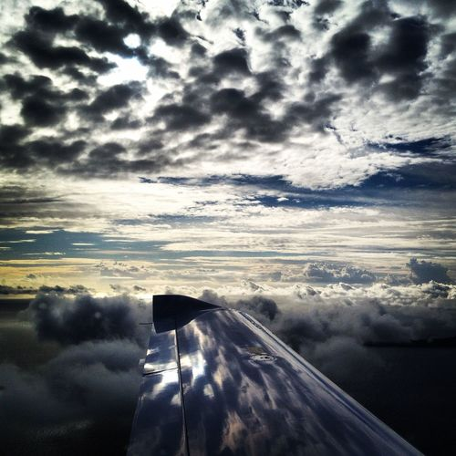 Cloudy day Taking Photos Plane Pilotlife Clouds Sky Sunset Airplane Enjoying Life Flying