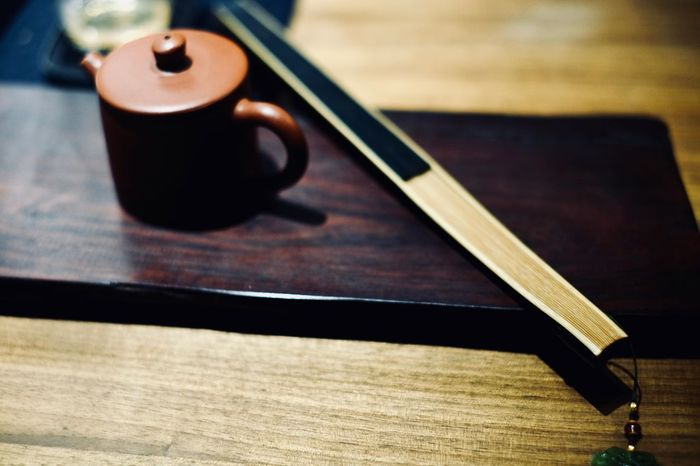 Folding Fan Tea Table Wood - Material Still Life Indoors  No People High Angle View Focus On Foreground
