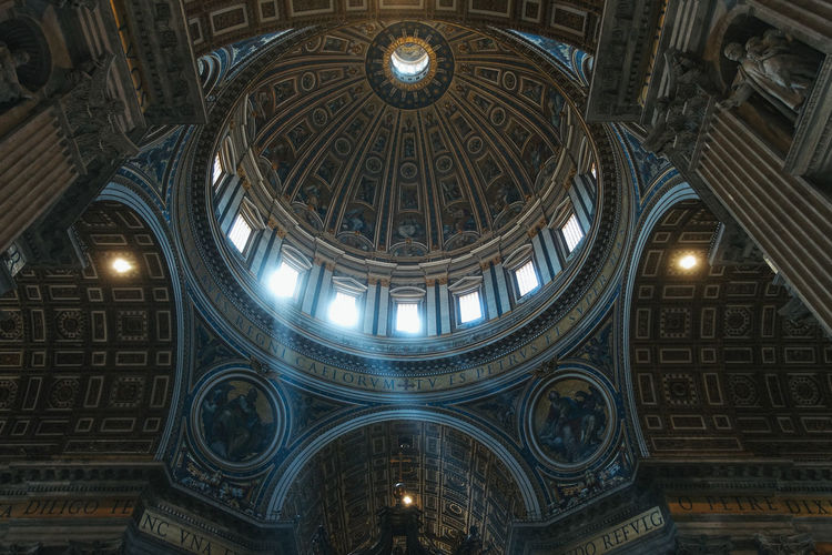Rome Vatican Arch Architecture Architecture And Art Belief Building Built Structure Ceiling Cupola Dome History Illuminated Indoors  Italy Low Angle View No People Ornate Place Of Worship Religion Skylight Spirituality The Past Travel Destinations
