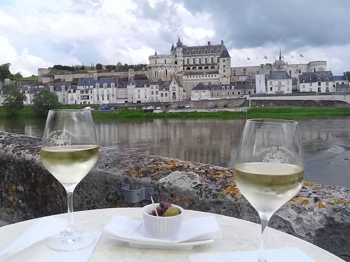 Lunch in Chateau valley Wineglass Building Exterior Built Structure Wine Table Architecture Water No People Food And Drink Outdoors Sky Drinking Glass Day EyeEmNewHere