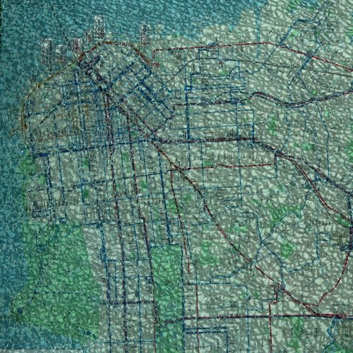 City Map Roads San Francisco Transport Transportation USA Photos Bus Califonia Cracked Glass Maple Leaf Route Shattered Glass Smashed Windows