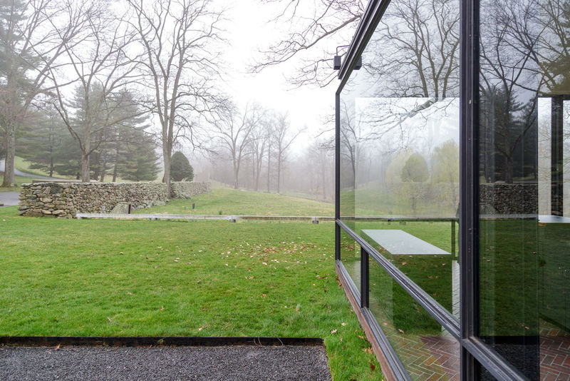 Philip Johnson's Glass House in New Canaan, Connecticut Architecture Bare Tree Beauty In Nature Day Empty Glass House Grass Green Color Growth Landscape Mid Century Architecture Mid Century Modern Modern Architecture Modernist Architecture Nature No People Outdoors Philip Johnson Sky Tranquil Scene Tranquility Tree