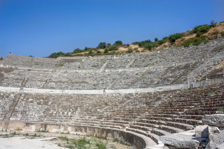 Agriculture Ancient Ancient Civilization Architecture Built Structure Day Efes Footpath Geology Grass High Angle View Landscape Leading Old Ruin Outdoors Physical Geography Rough Rural Scene Steps Stone Stone Wall