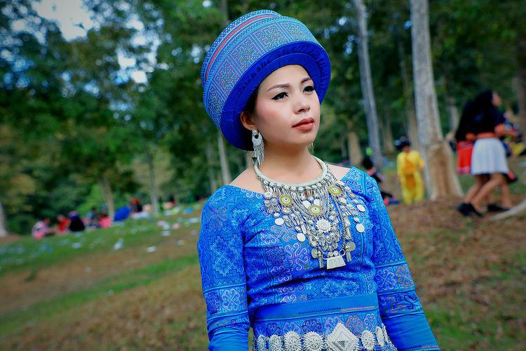 Hat New Year Beautiful Woman Blue Blue Clothes Clothing Day Hmong_cuties Looking Looking Away One Person Portrait Real People Standing Women Young Adult Young Women