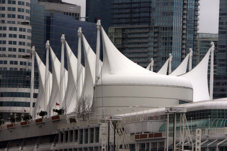 Sails of Canada Place cruise ship terminal in Vancouver B.C. Canada. Built Structure Outdoors Canada Sails Canada Place Canada B.C