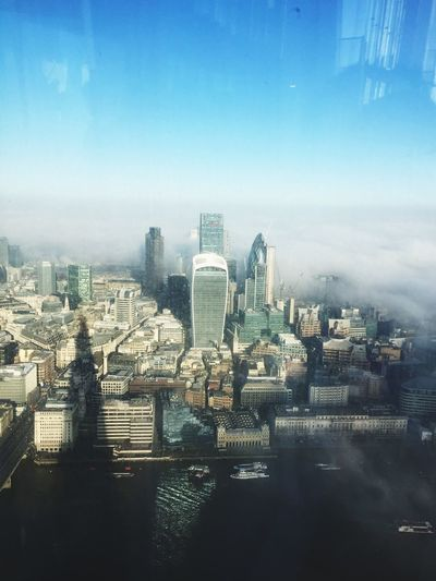 I Spy..... From Way Up High Rolling Clouds Enveloping the City of London with Reflections Shard London on a Sunny Foggy Winter day The City Light
