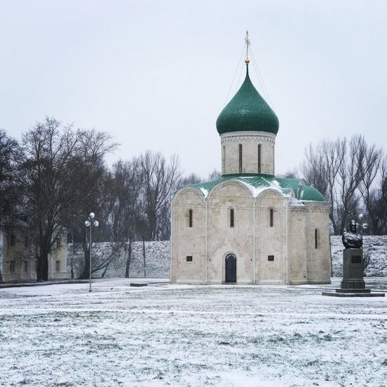 White stone Transfiguration Cathedral (Savior's Cathedral) built in 1152–1157 Pereslavl-Zalessky Golden Ring Russia Orthodox Church Russian White Stone Cathedral Spirituality Built Structure Weather Outdoors Building Exterior No People Travel Destinations