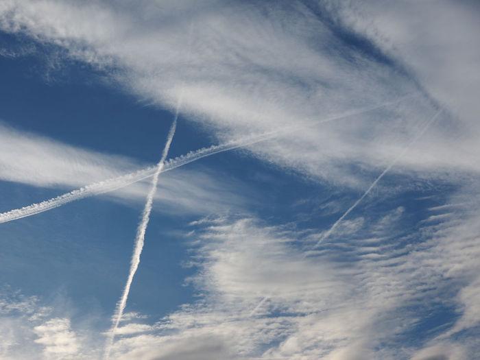 Plane trails Cloud - Sky Vapor Trail Sky Plain Trails Plain Track Flying Blue Sky Clouds Travelling Traveling