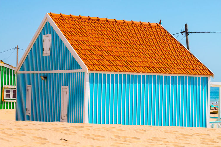 Costa de caparica is the famous tourist destination, with the typical tiny colorful house.