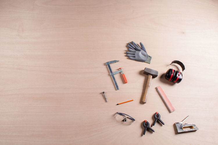 Directly above shot of tools on table