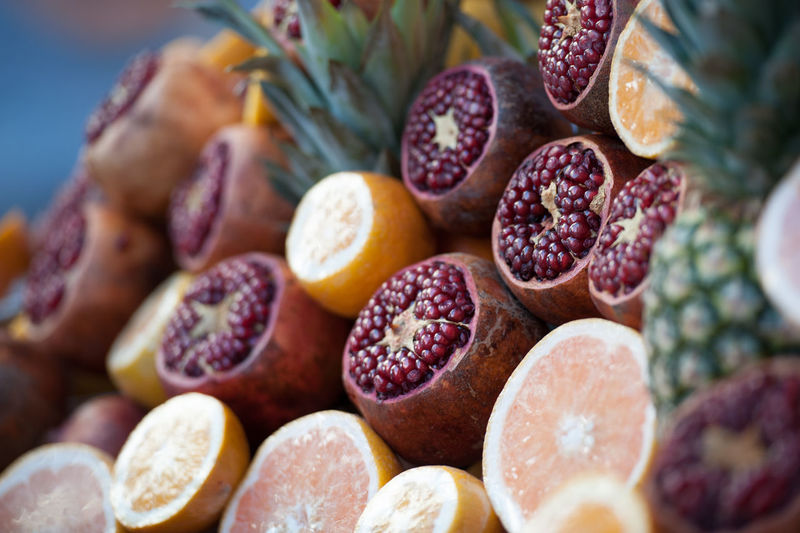Close-up of exotic fruits