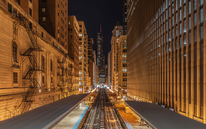 Chicago Train station Chicago Chicago Skyline Skyline Architecture Building Exterior Built Structure City Illuminated Long Exposure Night No People Outdoors