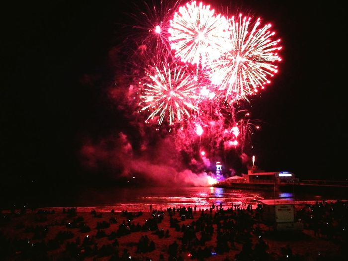The pier is on fire Fireworks Red Sky Beach Life Pier Photos Bournemouthpier Fire In The Sky Love ♥ HuaweiP9