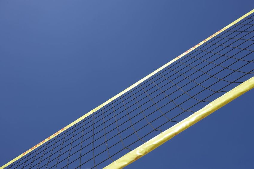 Beachvolleyball Field Beachvolleyball Net Beach Sports Blue Clear Sky Copy Space Electricity  Environment Environmental Conservation Environmental Issues Net No People Renewable Energy Sand Sky Sun Sunlight Sustainable Resources