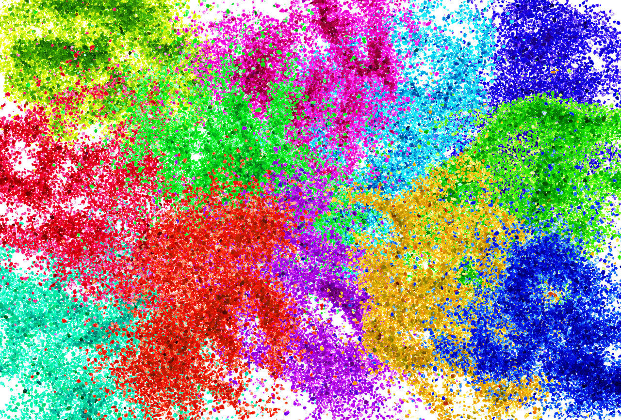 multi colored, green color, vibrant color, variation, abstract, backgrounds, red, vitality, paint, yellow, smudged, studio shot, no people, close-up, day, ink, talcum powder
