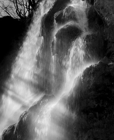 Beauty In Nature Blackandwhite Blurred Motion Contrast Day Freshness Long Exposure Low Angle View Motion Nature No People Outdoors Power In Nature Rapid Rock - Object Scenics Shiluette Water Waterfall