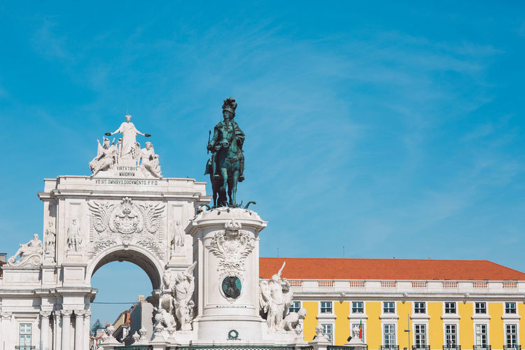 Lisbon Lisboa Lisboa Portugal Lisbon - Portugal Portugal Architecture Built Structure Sculpture Representation Sky Art And Craft Statue Building Exterior Human Representation Low Angle View Travel Destinations Creativity Nature Arch History Blue Day The Past Male Likeness No People Outdoors Architectural Column Ornate