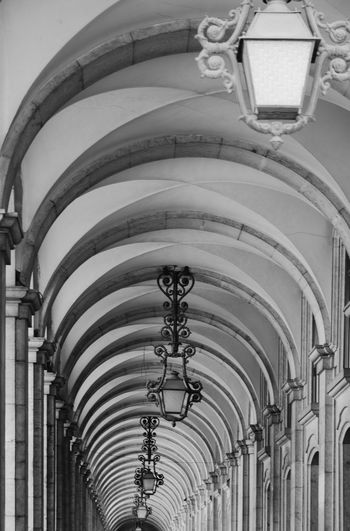 Architecture Black & White Lisboa Portugal Perspective Portugal Arch Architectural Column Architectural Detail Architecture Black And White Blackandwhite Blackandwhite Photography Built Structure Contrast Gallery History Lamp Light And Shadow Lisboa Lisbon Low Angle View No People Pattern Patterns Repetition