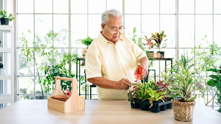 Midsection of man holding potted plant on table