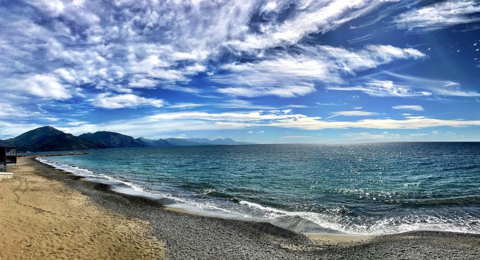 Sea Water Beauty In Nature Scenics Beach Nature Sky Tranquility Horizon Over Water Tranquil Scene Outdoors No People Blue Day Cloud - Sky Sand Wave