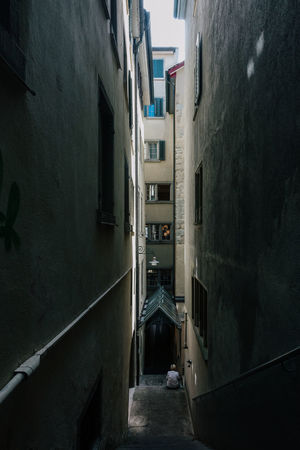 Alley Architecture Building Building Exterior Built Structure City Day Diminishing Perspective Direction Empty Long Narrow No People Outdoors Residential District Street Switzerland The Way Forward Town Transportation Wall Wall - Building Feature