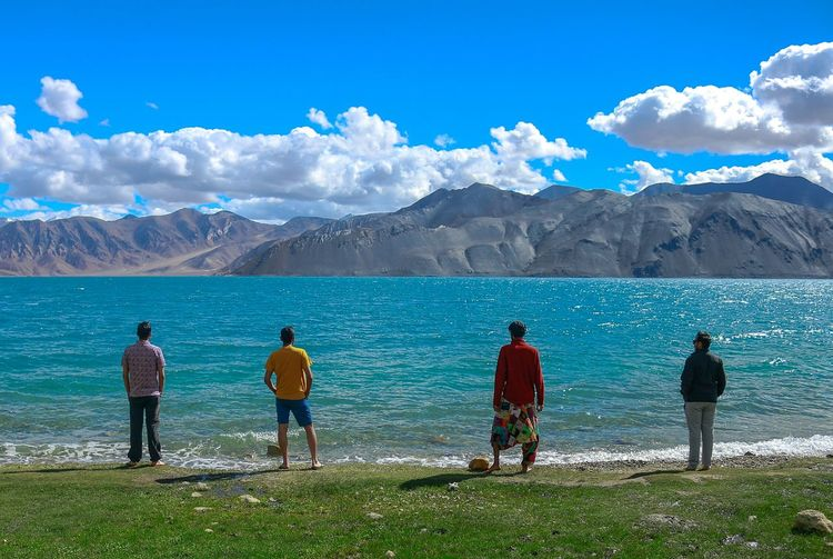 Rear view of people looking at mountains against sky