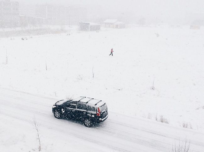 Winter Snow Cold Temperature Car Black Car White High Angle View Weather Snowing One Person Day Shades Of Winter