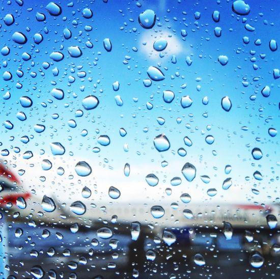 Ready to the sky Window No People Water Drop Sky Airplane Rain British United Kingdom British Airways