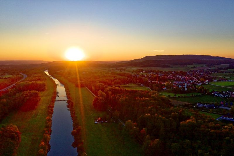 Sunset Aerial View Dji Dji Mavic 2 Pro EyeEmNewHere EyeEm Nature Lover EyeEm Best Shots Dronephotography Drone  River Thur Thurgau Sky Sunset Beauty In Nature Nature Scenics - Nature Sun Environment Landscape Sunlight No People Beauty In Nature Tranquil Scene Sunlight Outdoors