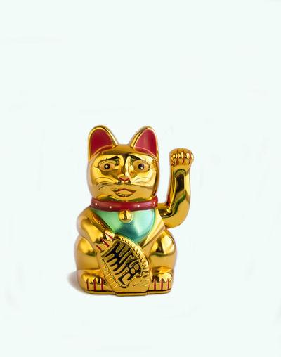 Animal Futuristic Gold Lucky Cat Maneki Neko No People Waving White Background