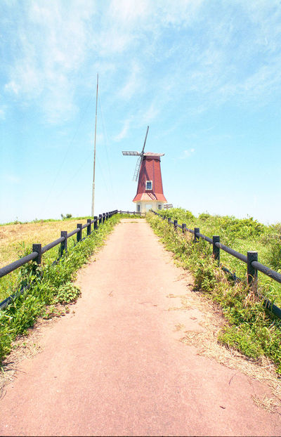 Wind Power Windmill Rural Scene Agriculture Wind Turbine Traditional Windmill Sky Outdoors Cloud - Sky Landscape Japan Film Photography