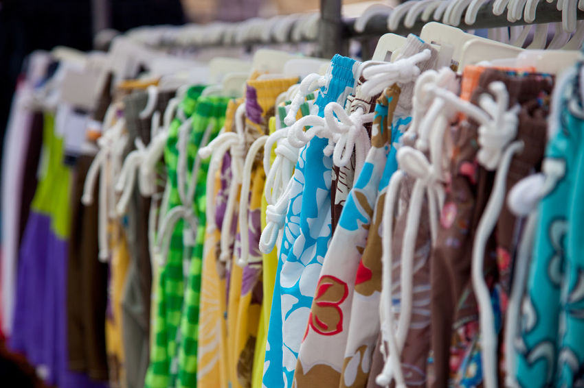 Clothes offered at market stall Clothes Clothesline Fabrics Lcoal Market Market Stall Retail  Retail Display Retailers Shopping Summer Wear