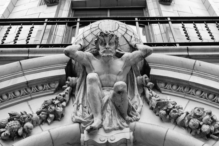 Architectural Feature Architecture Architecture Architecture_collection Building Building Exterior Buildings Day Greek Gods Hercules Low Angle View No People Ornate Ornate Stonework Outdoors Sculpting A Perfect Body Sculpture Sculptures Statue Stone Black And White Friday