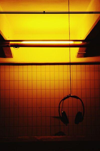Yellow No People Indoors  Illuminated Headphone Industrial Cabel