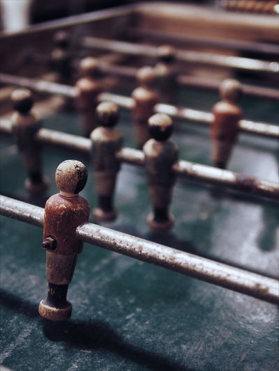 High angle view of weathered foosball