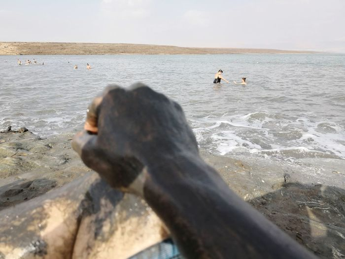 Dead Sea bath with mud and view of the dead sea Dead Sea View Dead Sea Beach Dead Sea Israel Dead Sea, Totes Meer Totes Meer Arm Mud Bath Skin Therapy Israel Lowest Point On Earth EyeEm Selects Bird Water Sea Swimming Beach Wave Pets Dog Full Length Sea Life Shore Coast Coastline Seascape Horizon Over Water Tide Ocean Calm