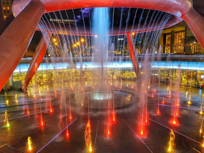 Fountain of Wealth Steel Structure  Waterfeature Lights Lights And Shadows Wealth Singapore Photography Architecture Illuminated City Sport Fountain