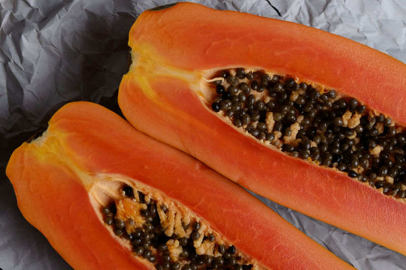 Close-up Cut In Half Day Food Food And Drink Freshness Healthy Eating Indoors  Inside Internal No People Orange Color Orange Colour Papaya Ready-to-eat Seed SLICE Tropical Fruits