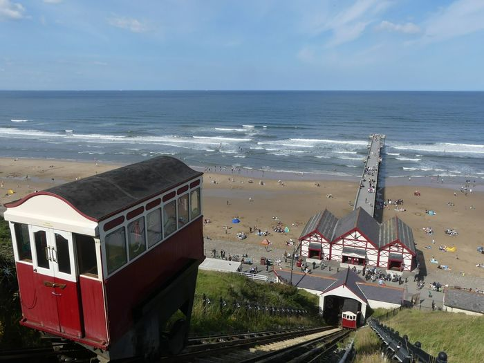 Sea Beach Water Horizon Over Water Vacations Sand Outdoors Sky Day No People Nature Wave Architecture Saltburn Saltburn By The Sea Funicular Funicular Railway Pier EyeEmNewHere