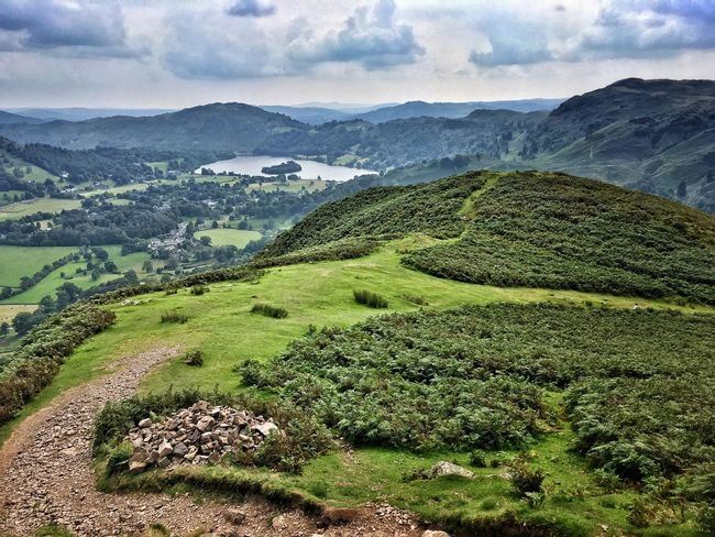 Helm Crag Grasmere View From Above Lake Grasmere Lake Mountain Hill Hills Mountains Valley No People Landscape Travel