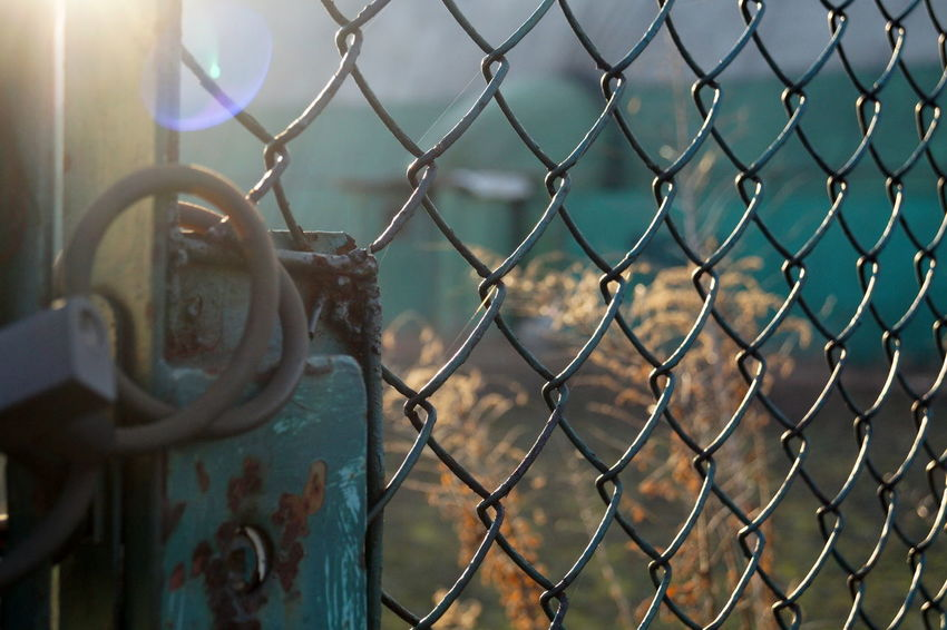 City Closed Day Fence Gate Green Yellow Lock Mash Metal Outdoors Padlock Security Sun Reflection Ursynow