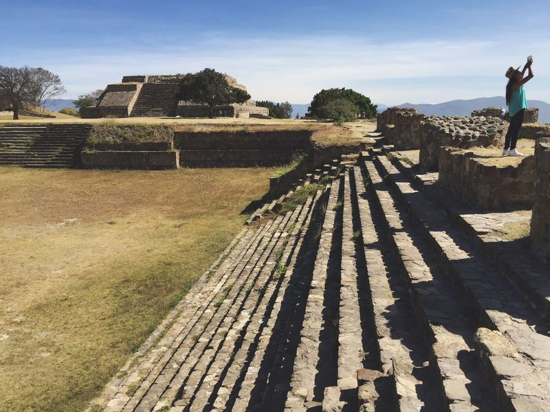One Person Real People Sky Day Outdoors Tree Grass Building Exterior Architecture Nature Beauty In Nature Traveling Ruined History Monte Alban Oaxaca Travel Destinations