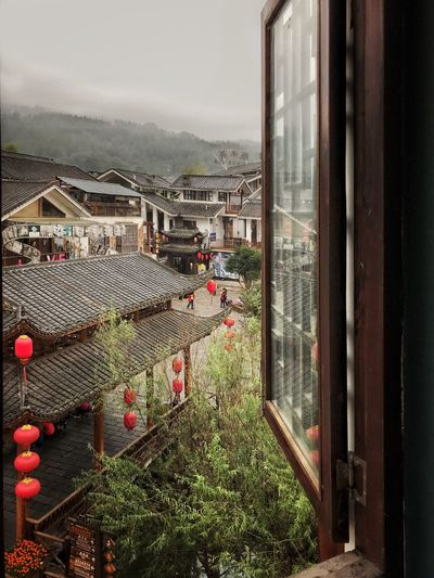 Window With A View Window City Outdoors Built Structure China City Red Lanterns Architecture Chinese Architecture