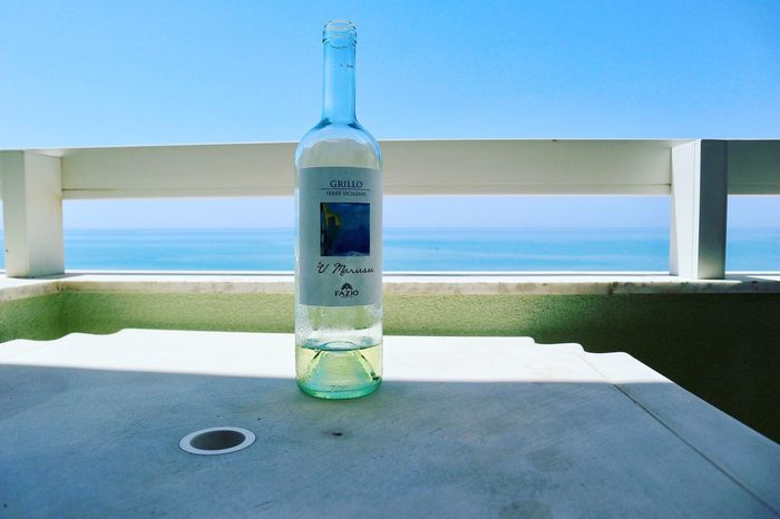 Bottle Sea Horizon Over Water Water No People Day Sky Beach Clear Sky Close-up Indoors  Nature Architecture Wine White Wine Sicily Beach Italia Italy Sicily, Italy