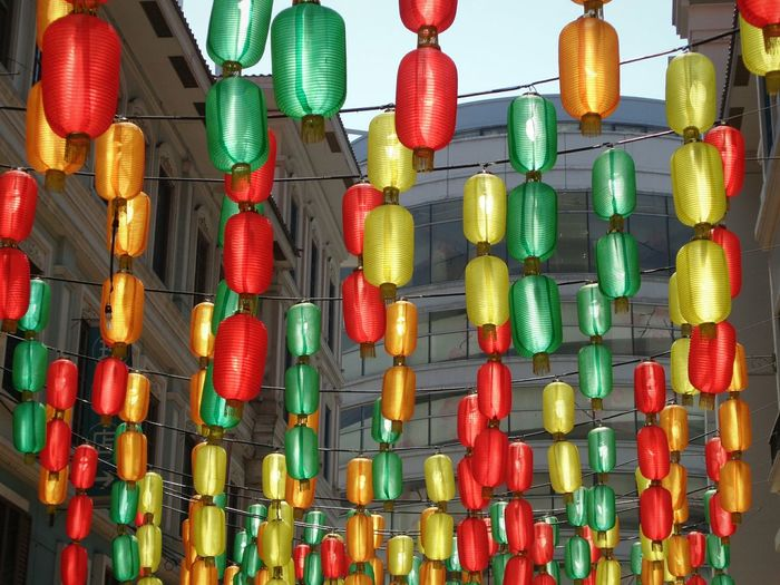 Don't turn off the lights Backgrounds Chinatown Day Multi Colored Large Group Of Objects No People Red Yellow Green Color Lantern Lights Hanging EyeEmNewHere The Street Photographer - 2017 EyeEm Awards