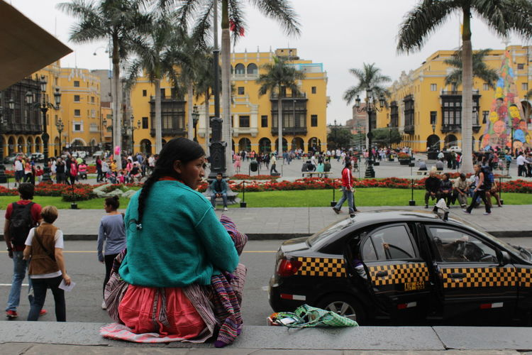 Architecture Building Exterior Built Structure City City Life City Street Day Leisure Activity Lifestyles Lima Lima Main Square Lima-Perú Mainsquare Medium Group Of People Peru Peru Girl Taxi In Peru